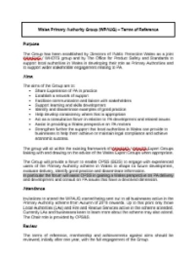 Wales Primary Authority Group (WPAUG) – Terms of Reference